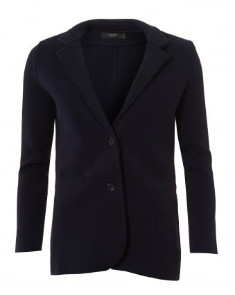 Womens Alacre 2-Button Midnight Blue Knitted Jacket
