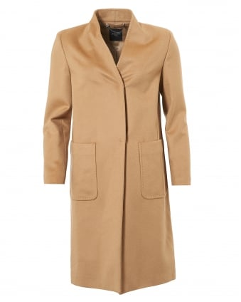 Womens Anselmo Single Button Virgin Wool Camel Coat
