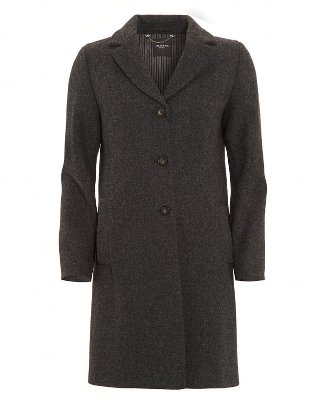 Max Mara Weekend Womens Apotema Black Crombie Coat