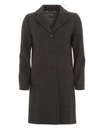 Womens Apotema Black Crombie Coat
