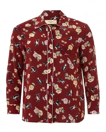 Womens Areoso Cat and Flower Print Ruby Shirt