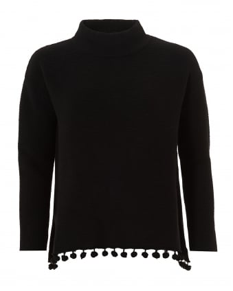 Womens Ario Jumper, Pom Pom Hem Black Sweater