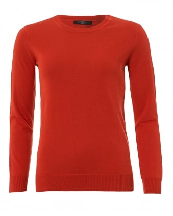 Womens Balsamo Jumper, Brick Red Ribbed Sweater