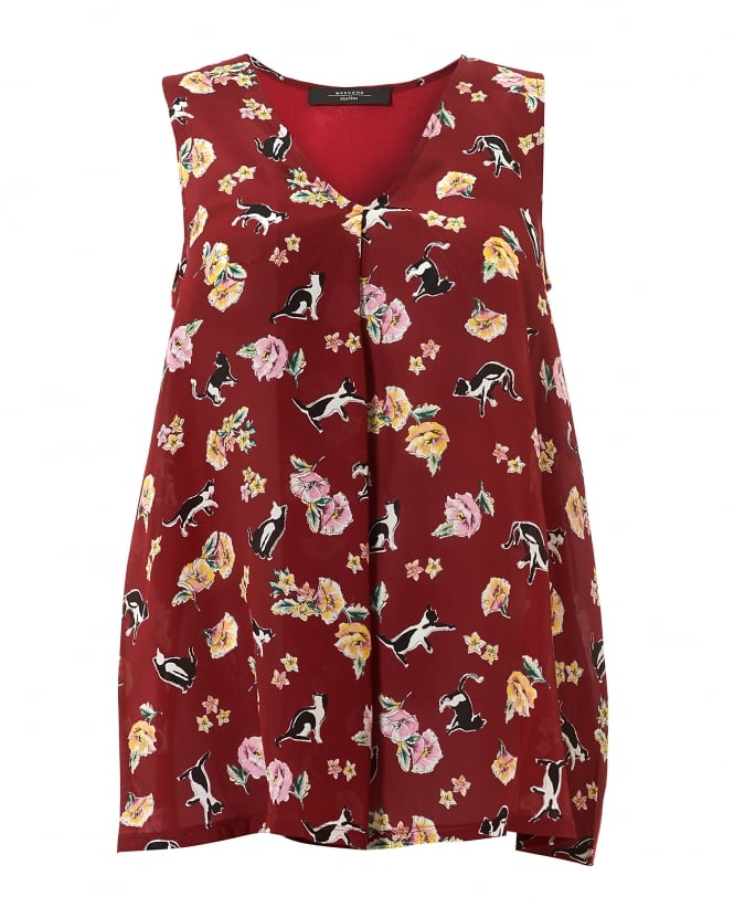 Max Mara Weekend Womens Bruno Cat Flower Print Ruby Top