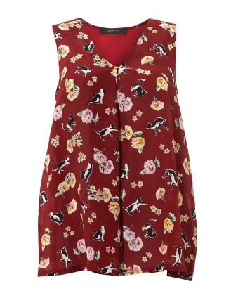 Womens Bruno Cat Flower Print Ruby Top