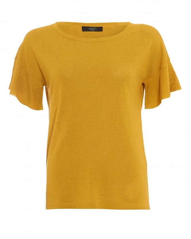 Max Mara Weekend Womens Calante Yellow Flutter Sleeve Jumper