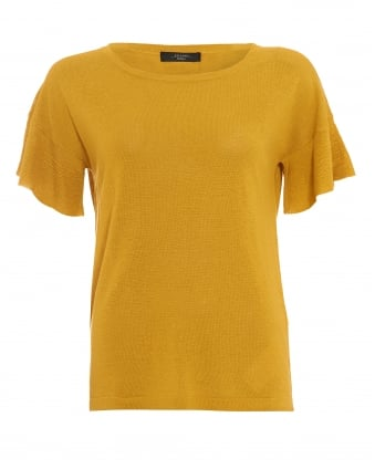 Womens Calante Yellow Flutter Sleeve Jumper
