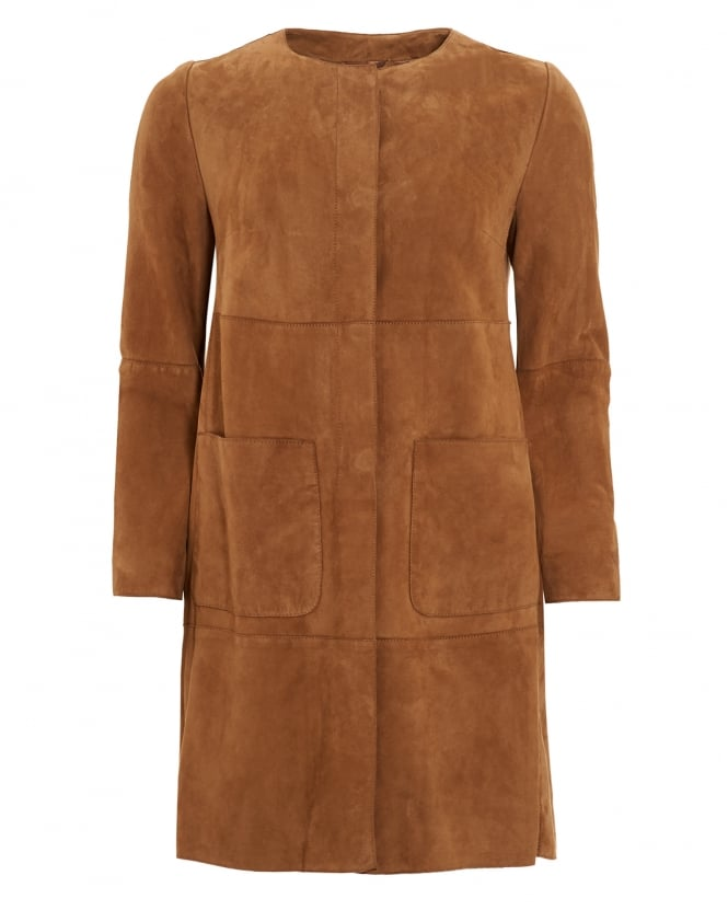 Max Mara Weekend Womens Cambio Tobacco Suede Coat