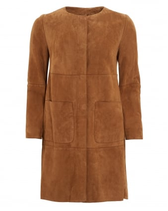 Womens Cambio Tobacco Suede Coat