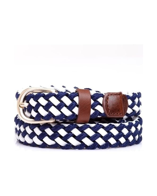 Max Mara Weekend Womens Candela Belt, Leather Navy Blue White Plait