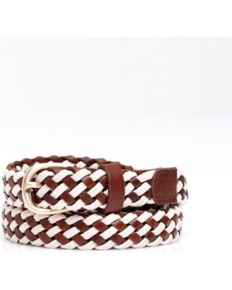 Womens Candela Belt, Leather Tan White Plait
