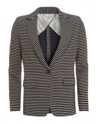 Womens Carta Jacket, Ultra Marine Blue Striped Blazer