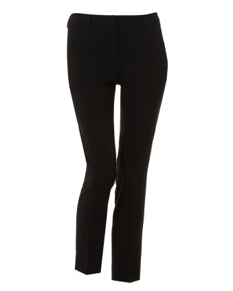 Womens Cartone Cigarette Cropped Ankle Black Trousers