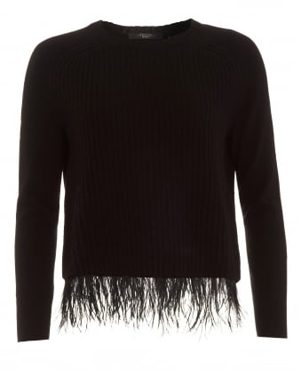 Womens Chicca Jumper, Black Ribbed Feather Sweater