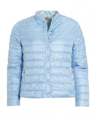 Womens Cinese Jacket, Reversible Striped Blue Quilted Puffa