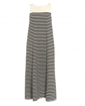 Womens Citrato Black White Stripe Maxi Dress