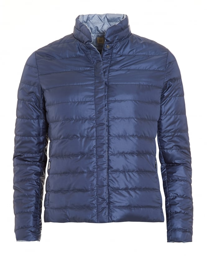 Max Mara Weekend Womens Clair Reversable Blue Quilted Puffa Jacket