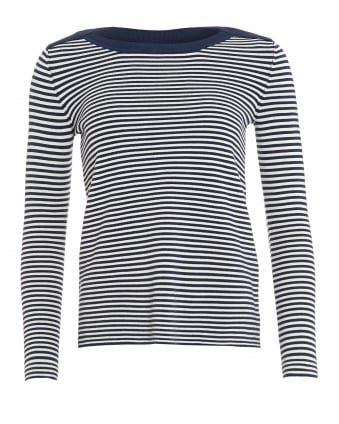 Womens Cogna Jumper, Ultra Marine Blue White Striped Sweater