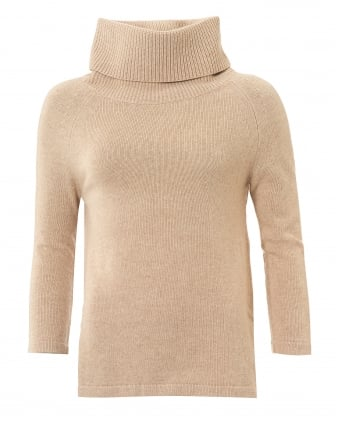 Womens Cubano Roll Neck Sand Jumper