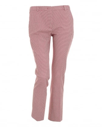Womens Emmy Red Diamond Cropped Cigarette Trousers