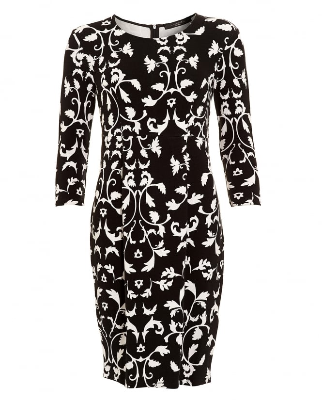 Max Mara Weekend Womens Estremo Monochrome Floral Filigree Dress