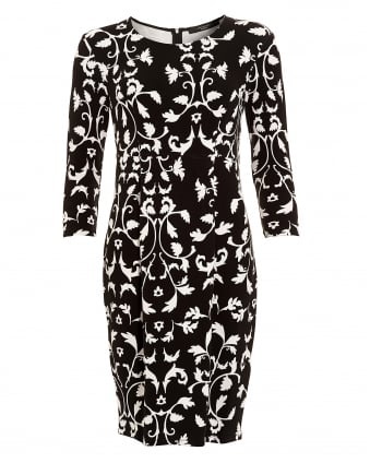 Womens Estremo Monochrome Floral Filigree Dress