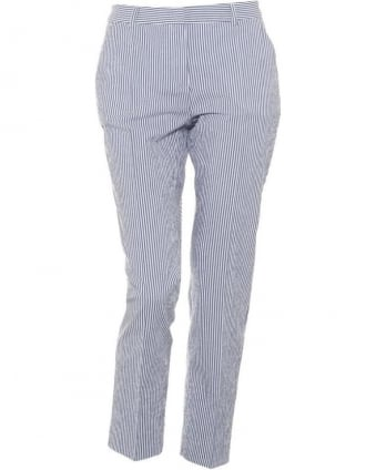 Womens Eureka Trousers, Navy Striped Cigarette Trouser