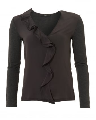 Womens Falena V-Neck Frill Front Dark Grey Top