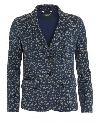 Womens Favola Jacket, Ultra Marine Navy Blue Floral Printed Blazer