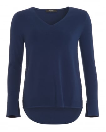 Womens Fianco Jumper, Ultra Marine Blue V-Neck Sweater