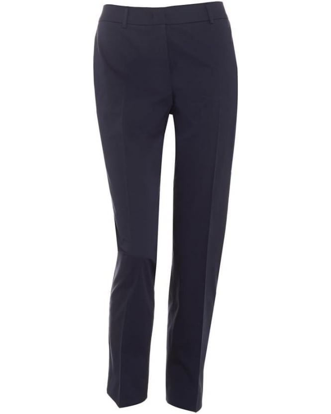 Max Mara Weekend Womens Foscari Trousers, Navy Blue Sateen Slim Fit Trouser