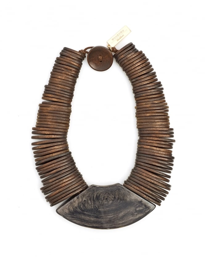 Max Mara Weekend Womens Gamma Brown Wooden Necklace