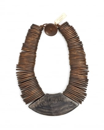 Womens Gamma Brown Wooden Necklace