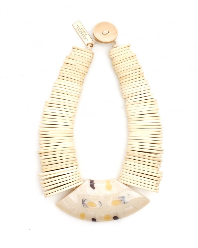 Max Mara Weekend Womens Gamma White Wooden Necklace
