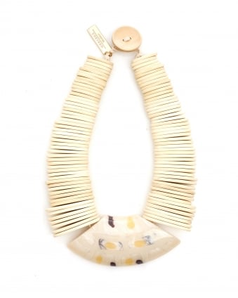 Womens Gamma White Wooden Necklace