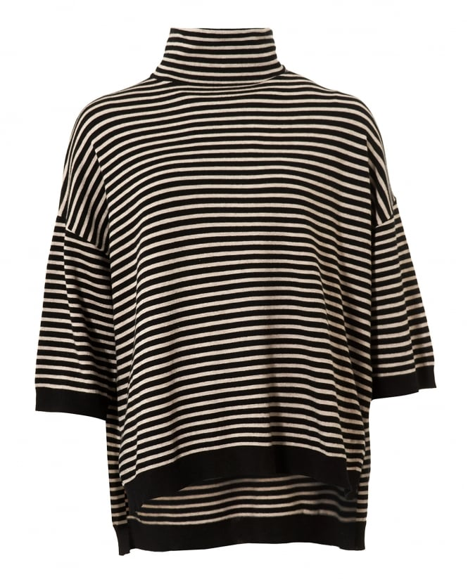 Max Mara Weekend Womens Geode Jumper, Turtle Neck Striped Black Ivory Sweater
