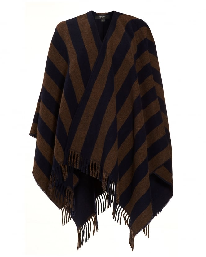 Max Mara Weekend Womens Giunto Navy Double Stripe Poncho