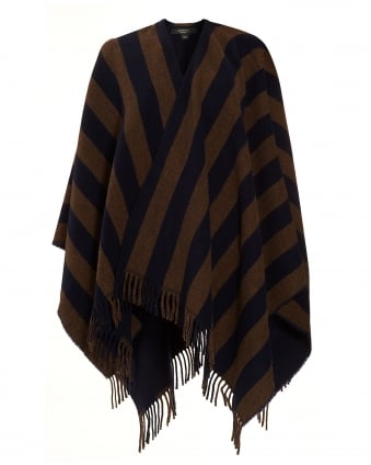 Womens Giunto Navy Double Stripe Poncho