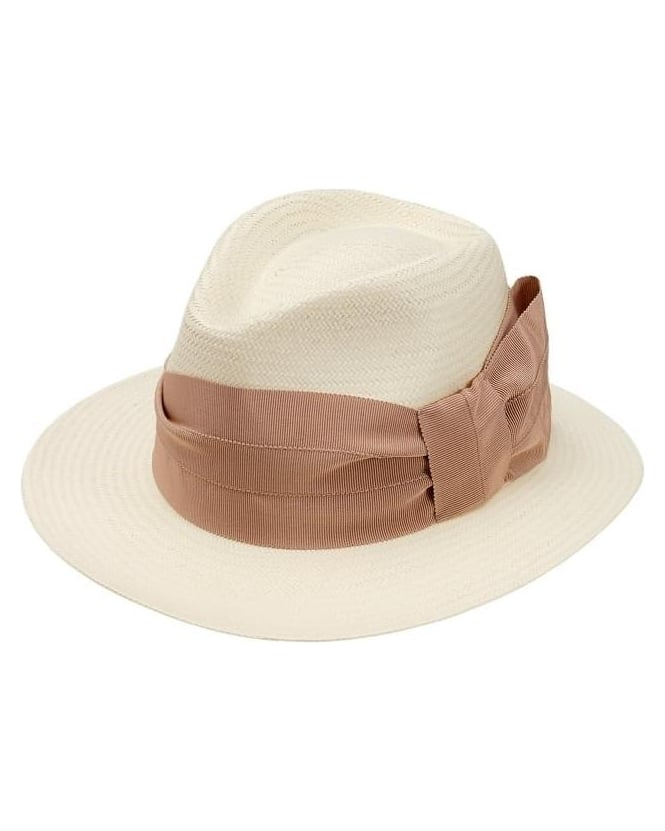 Max Mara Weekend Womens Hat Panama Full White With Bow Hat