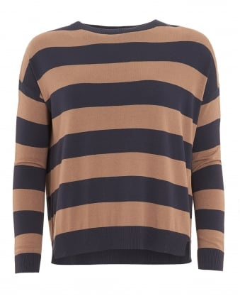 Womens Hidesia Jumper, Navy Brown Striped Sweater