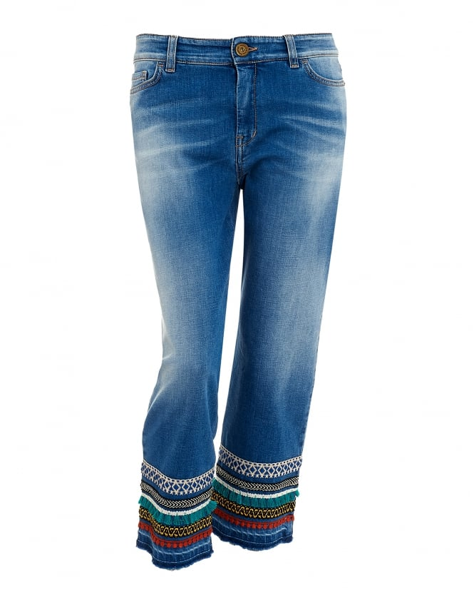Max Mara Weekend Womens Jeans, Cropped Embroidered Denim