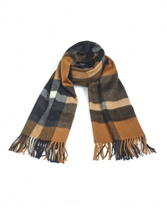 Womens Legno Camel Black Fringed Scarf