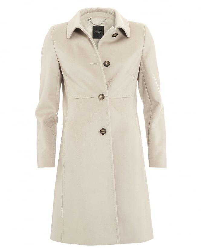 Max Mara Weekend Womens Lord Coat, Camel Beige Virgin Wool Coat