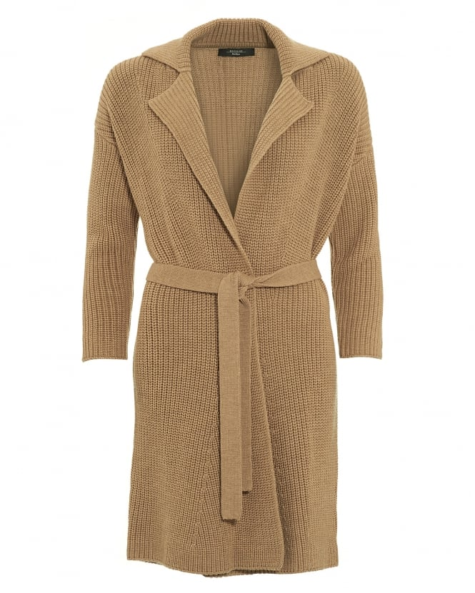 Max Mara Weekend Womens Madera Cardigan, Camel Tie front Coat