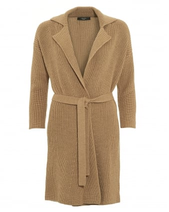 Womens Madera Cardigan, Camel Tie front Coat