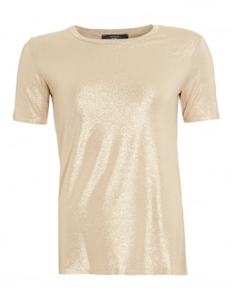 Womens Multi A T-Shirt, Gold Metallic Tee