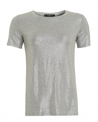 Womens Multi A T-Shirt, Silver Metallic Tee