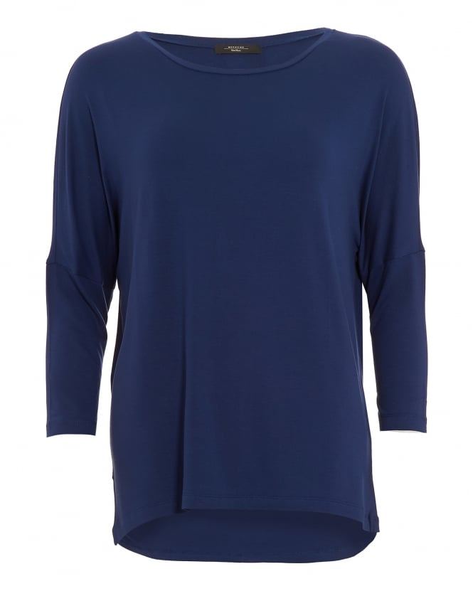 Max Mara Weekend Womens Multi B Top, Three Quarter Sleeve Midnight Blue T-Shirt