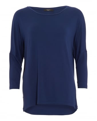Womens Multi B Top, Three Quarter Sleeve Midnight Blue T-Shirt