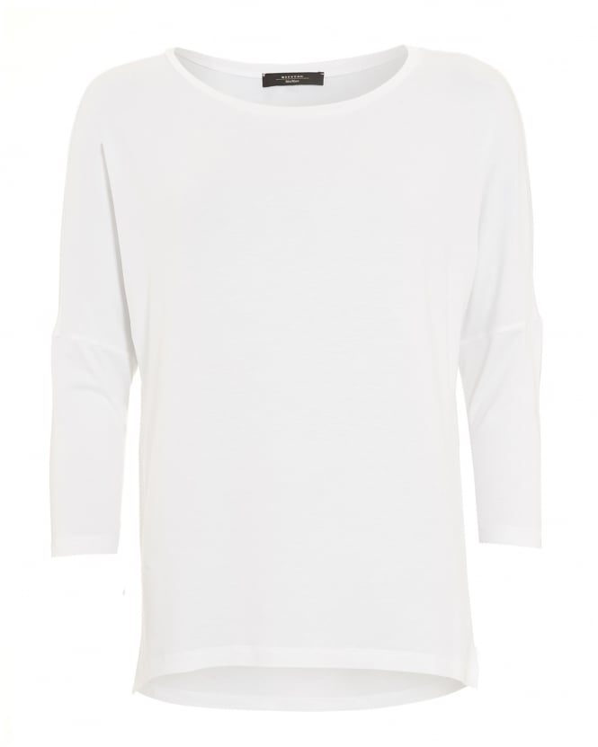 Max Mara Weekend Womens Multi B Top, Three Quarter Sleeve White T-Shirt